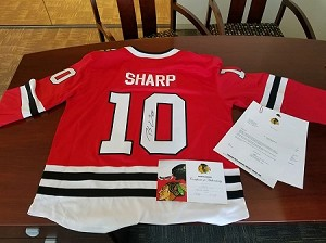 Patrick Sharp Signed Blackhawks Jersey  (only 250 tickets)